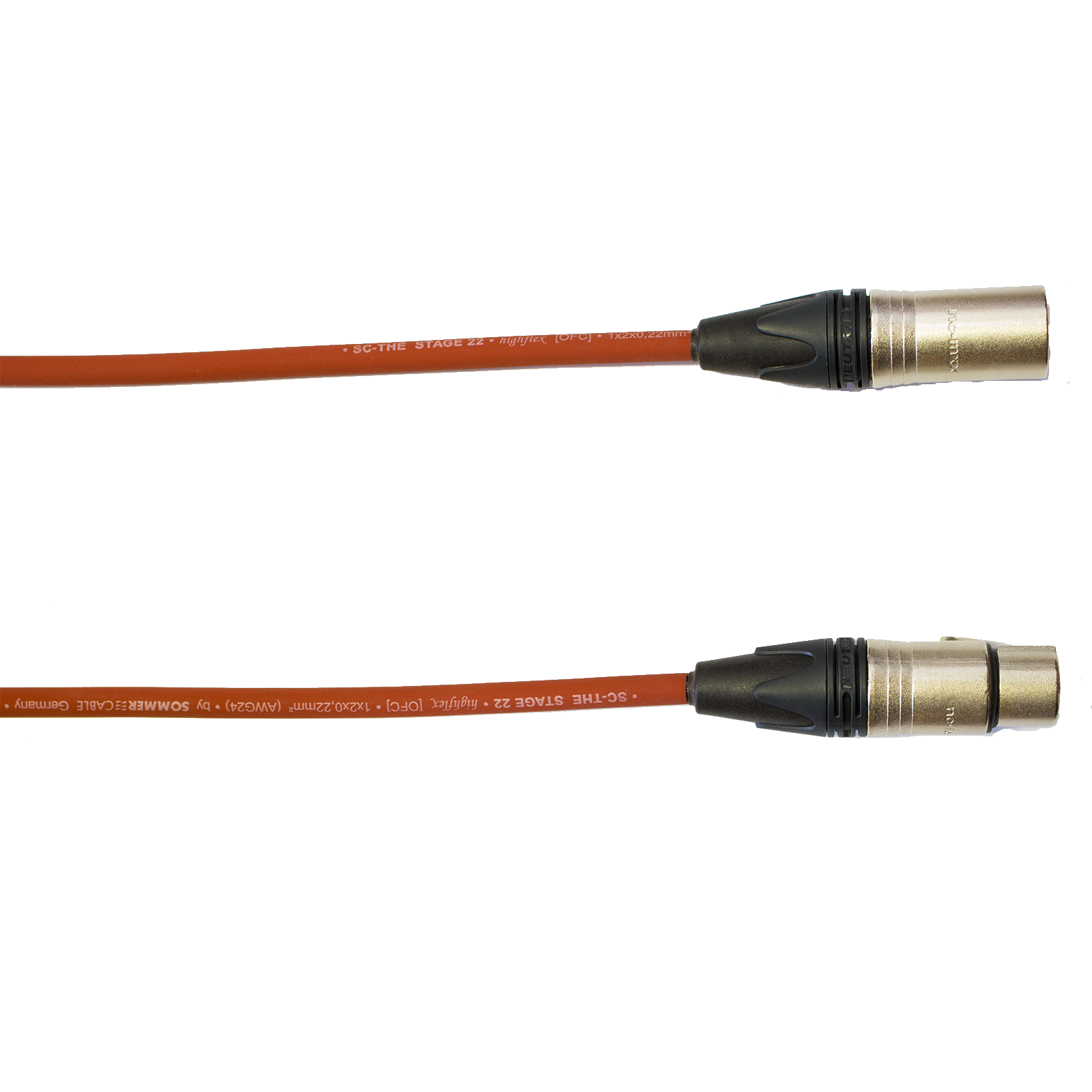 Audiokabel XLR konektor Neutrik male/female  50 m, Sommer, červený