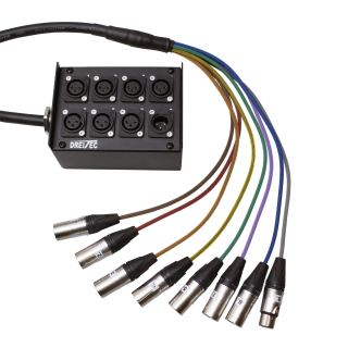 Multipár 8, stagebox, 7 in, 1 out, XLR konektory stříbřené kontakty, 10m
