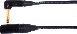 Audiokabel JACK 6,3 úhlový TRS/XLR male, 15m, MC5000
