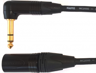 Audiokabel JACK 6,3 úhlový TRS/ XLR male, 3m, KLOTZ MC2000